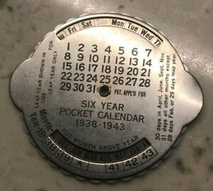 Click now to see the BUY IT NOW Price! 1938 1943 SIX YEAR POCKET CALENDAR