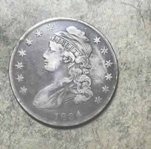 1834 CAPPED BUST HALF DOLLAR   VF   GREAT TYPE COIN
