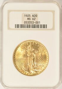 1925 $20 SAINT GAUDENS GOLD DOUBLE EAGLE COIN NGC MS62 NO LINE FATTY HOLDER