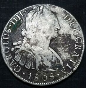 PERU 1808 JP 8 REALE MILLED BUST US COLONY FIRST SILVER DOLLAR BURIED COIN $1
