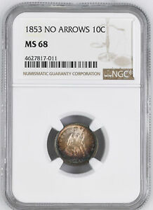 Click now to see the BUY IT NOW Price! 1853 LIBERTY SEATED 10C NGC MS 68