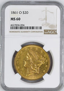 Click now to see the BUY IT NOW Price! 1861 O LIBERTY HEAD $20 NGC MS 60