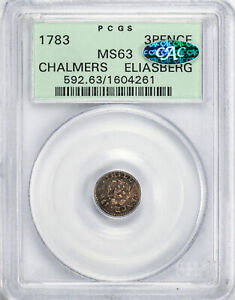 Click now to see the BUY IT NOW Price! 1783 CHALMERS 3PENCE PCGS MS 63