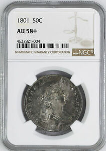 1801 DRAPED BUST 50C NGC MS 58