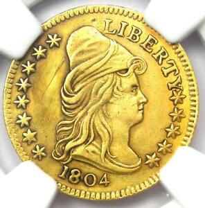 1804 CAPPED BUST GOLD QUARTER EAGLE $2.50 COIN   NGC AU DETAILS    DATE