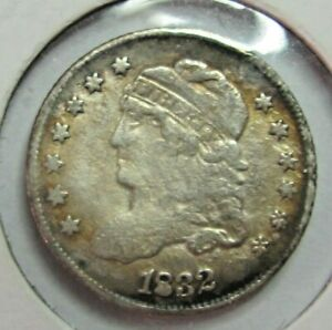1832 CAPPED BUST SILVER HALF DIME TONED US COIN