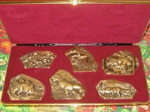 6 BRONZE SOCIETY OF MEDALISTS DINOSAUR FOSSILS MEDALLIONS BY DON EVERHART W/CASE