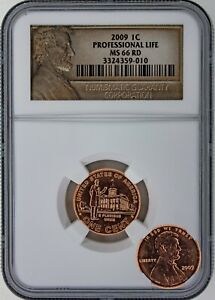 2009 P LINCOLN BICENTENNIAL    PROFESSIONAL LIFE PENNY   NGC MS 66 RD