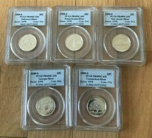 Click now to see the BUY IT NOW Price! SET OF FIVE  5  1999 STATE QUARTERS SILVER PROOF   PCGS 68 AND 69 DCAM