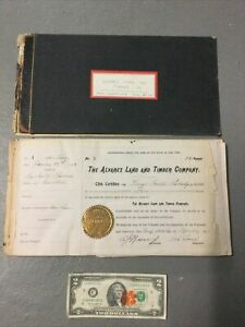 Click now to see the BUY IT NOW Price! ALVAREZ LAND AND TIMBER CO STOCK CERTIFICATE BOOK W 2 GEORGE PEABODY AUTOGRAPHS
