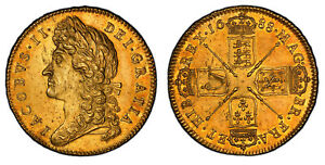 Click now to see the BUY IT NOW Price! ENGLAND JAMES II 1688 AV FIVE GUINEAS. PCGS MS62 S 3397A LUSTROUS SURFACES