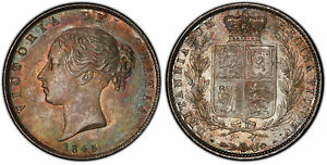 Click now to see the BUY IT NOW Price! GREAT BRITAIN VICTORIA 1845 AR HALFCROWN. PCGS MS64  S 3888; ESC 2722