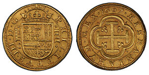 Click now to see the BUY IT NOW Price! SPAIN. 1607  AQUEDUCT  C AV 4 ESCUDOS. PCGS MS64. SEGOVIA. FR. 186; CAL. 1094