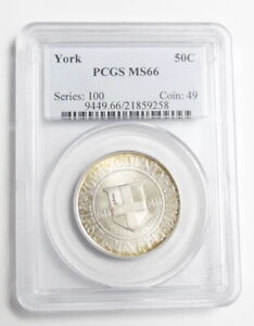 1936 US MINT COMMEMORATIVE 50 CENT YORK ME HALF DOLLAR COIN PCGS CERTIFIED MS66