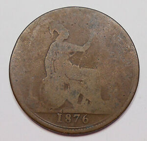 GREAT BRITAIN 1876 H PENNY G NICE BETTER DATE QUEEN VICTORIA OLD UK BRONZE COIN