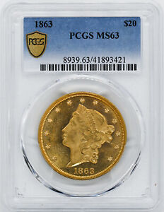 Click now to see the BUY IT NOW Price! 1863 LIBERTY HEAD $20 PCGS MS 63