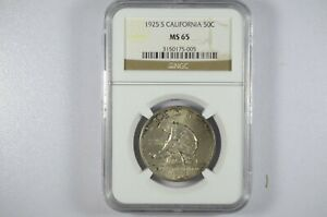 Click now to see the BUY IT NOW Price! 1925 S CALIFORNIA DIAMOND JUBILEE SILVER HALF DOLLAR MS65 NGC NICELY TONED