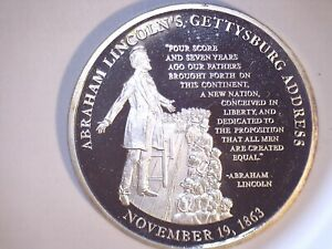 LINCOLN GETTYSBURG ADDRESS US COMMEMORATIVE UNCIRCULATED SILVER PLATE US 3458