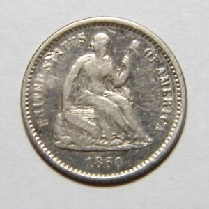 1860 P LIBERTY SEATED HALF DIME