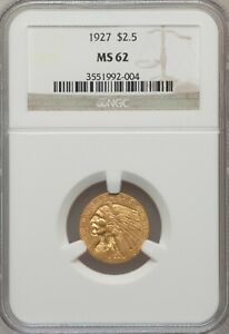 1927  $2.5 GOLD INDIAN HEAD QUARTER EAGLE NGC MS62