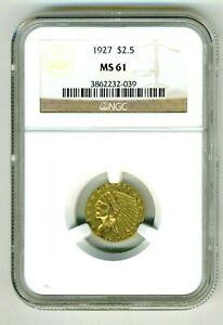1927  $2.5 GOLD INDIAN HEAD QUARTER EAGLE NGC MS61
