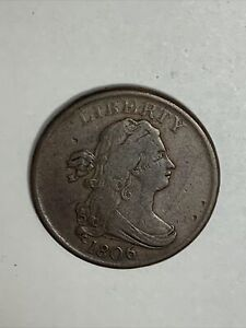 1806 DRAPED BUST HALF CENT SMALL 6 NO STEM US COIN