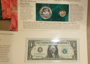 Click now to see the BUY IT NOW Price! 1997 BOTANIC GARDEN COINAGE AND CURRENCY SET W/ MATTE JEFFERSON NICKEL SILVER $1