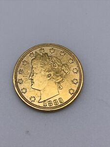 1883 24K GOLD PLATED 'RACKETEER' LIBERTY V NICKEL EXACT COIN YOU WILL GET