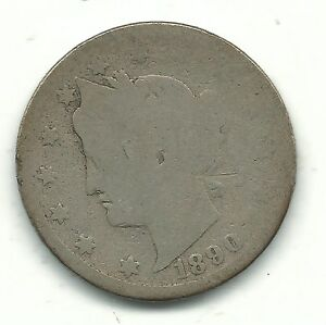A VINTAGE BETTER DATE 1890 LIBERTY HEAD V NICKEL COIN JUL867
