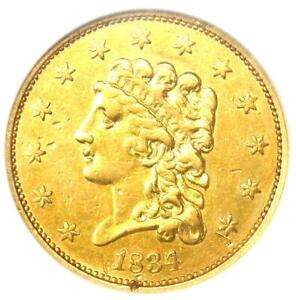 1834 CLASSIC GOLD QUARTER EAGLE $2.50   CERTIFIED ANACS AU DETAILS    COIN