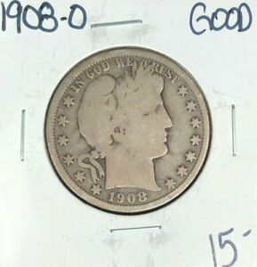1908 O BARBER SILVER HALF DOLLAR   GOOD  NICE COIN