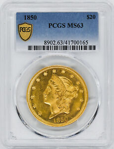 Click now to see the BUY IT NOW Price! 1850 LIBERTY HEAD $20 PCGS MS 63