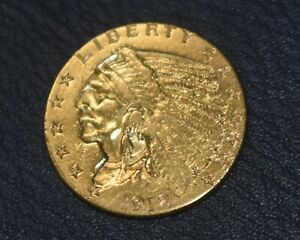 1912 $2.50 INDIAN HEAD GOLD QUARTER EAGLE WITH CAPSULE.