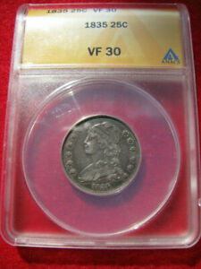 1835 CAPPED BUST QUARTER ANACS VF 30