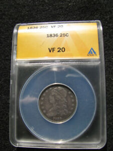 1836 CAPPED BUST QUARTER ANACS VF 20