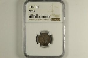 1829 CAPPED BUST DIME NGC VF25