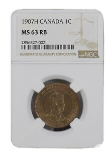 1907 H CANADA LARGE CENT KEY DATE: NGC MS 63 RED BROWN