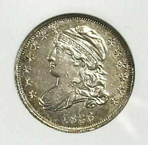 BEAUTIFUL 1836 CAPPED BUST DIME   GRADED AU58 DETAILS CLEANED  BY ANACS