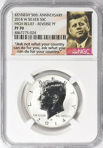 2014 W SILVER KENNEDY HALF DOLLAR HIGH RELIEF REVERSE PROOF NGC PF 70