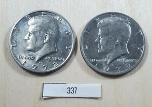 LOT OF TWO 1972 D KENNEDY HALF DOLLAR COINS. LOT337