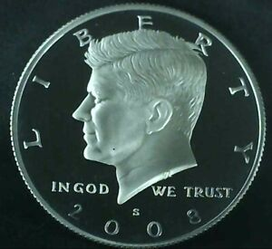 2008 S SILVER PROOF DCAM KENNEDY HALF DOLLAR 90  SILVER FROM SILVER PROOF SETS