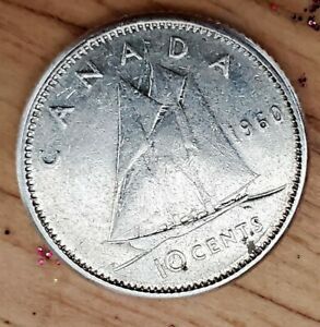 1960 SILVER CANADIAN DIME 10 CENT SHARP ABOVE AVERAGE CANADA TEN C COIN