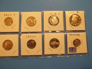 LOT OF 8 VARIOUS PROOF COINS  GREAT STARTER FOR BEGINNERS/CHILDREN      8PC1