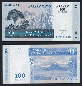 MADAGASCAR 100 ARIARY ON 500 FRANCS 2004 FDS / UNC B 09