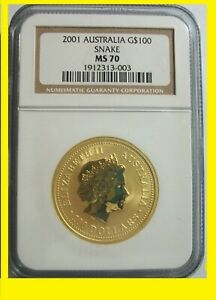 Click now to see the BUY IT NOW Price! 2001 CHINESE LUNAR YEAR OF THE SNAKE NGC MS 70 AUSTRALIA 1 OZ 9999 GOLD