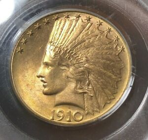 1910 D $10 PCGS MS61   INDIAN EAGLE   GOLD COIN