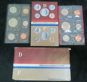 1984 U.S. UNCIRCULATED MINT SET  P AND D MARK  10 COINS 2 MINT TOKENS