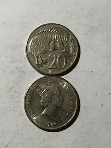 COIN   NEW ZEALAND 20 CENTS   1 COIN PER BUY MIXED DATES AND GRADES