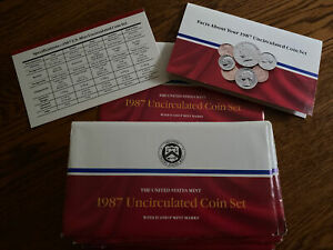 1987 UNCIRCULATED MINT SET NICE CLEAN ENVELOPE WITH COA  NO COINS