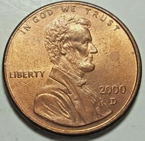 2000 D LINCOLN MEMORIAL PENNY OBVERSE SLIGHTLY OFF CENTER CIRCULATED COIN